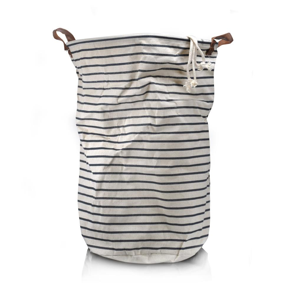 Stripe waterproofed cotton laundry basket Large