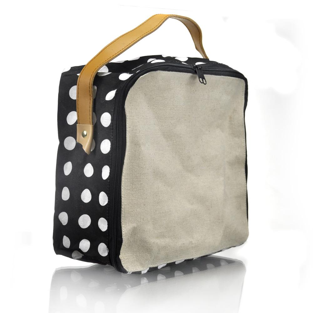 Polka waterproofed cotton storage bag - Click to enlarge