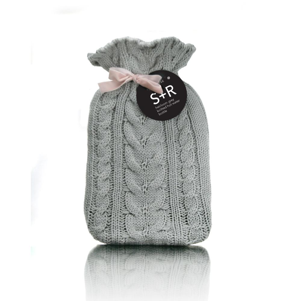 Grey Heirloom Hot Water bottle with Cover - Click to enlarge